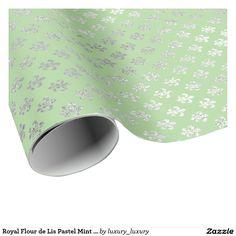 Royal Flour de Lis Pastel Mint Green Silver Vip Wrapping Paper
