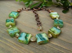 Czech Glass Bracelet, White Green Turquoise Picasso Square, Copper, Stacking, Boho Chic Jewelry, Summer Collection, Fashion Trend, Gift Idea