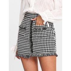 Houndstooth Fringe Trim Skirt ($1) ❤ liked on Polyvore featuring skirts, mini skirts, embellished mini skirt, houndstooth skirt, houndstooth mini skirt and fringe mini skirts
