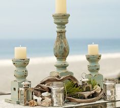 painted shabby candle sticks layered paint