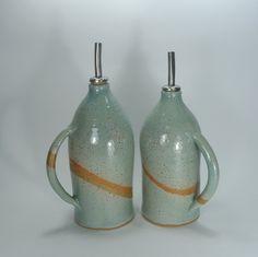 Clay bottle, olive oil dispenser, olive oil & vinegar cruet, ceramic bottle, kitchenware gift, handmade tableware design, Pale - Blue cruet by BakBook on Etsy