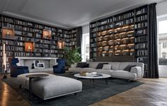 Poliform Home Collection 2015 Design as the protagonist of the contemporary house. Poliform presents five projects with different moods and lifestyles: complete solutions with different aesthetics. Home Library Design, Library Ideas, Design Desk, Spa Design, Design Art, Bookcase Wall, Wooden Bookcase, Living Room Bookcase, Large Bookcase