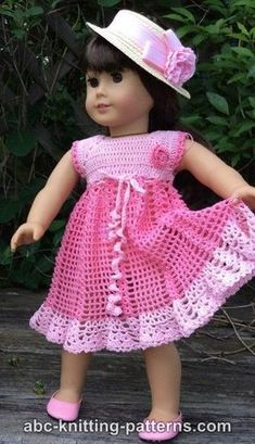 doll dress patterns Ravelry: American Girl Doll Carnation Lace Dress pattern by Elaine Phillips American Girl Outfits, American Doll Clothes, Baby Doll Clothes, American Girls, Dress Clothes, Crochet Doll Dress, Crochet Doll Clothes, Knitted Dolls, Crochet Dresses