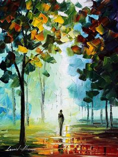 Love the reflections of light&the; colors. Leonid Afremov.STUNNING!!