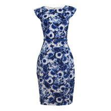 87ec138a7c Zapara Blue Flower Graphic Pattern Print Dress