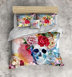 Bright Watercolor Skull and Flower Bedding with Indian Headdress