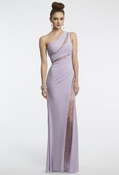 Camille La Vie One Shoulder Lilac Prom Dress with Illusion