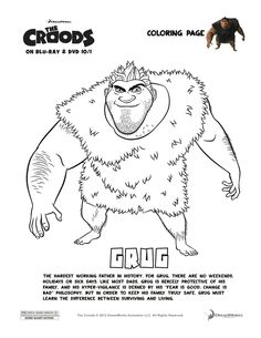 The Croods 'Grug' Coloring Page  Enter to win a Blu-Ray/DVD & Belt Plushie Combo Pack - Ends 10/31/13!  http://lynchburgtnmama.com/the-croods-indoor-adventure-party-thecroodsdvd-giveaway-ends-1031/