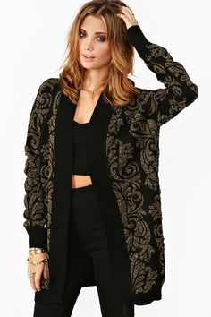 Baroque Knit Cardi / nastygal.com usd68 / oh gosh i really love baroque and this just looks so comfy..
