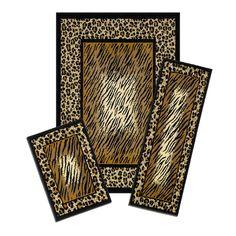 Capri Leopard Skin 3 Piece Area Rug Set, Brown