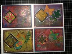 Handmade A7 cards made with Gelli plate and mixed media, a