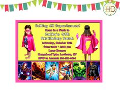 Girl Superhero Invitation Girls Superhero Party by HDInvitations Superhero Invitations, Party Invitations, Girl Superhero Party, Marvel, Superman, Things That Bounce, Avengers, Party Ideas, Girls