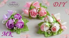 Hairpin / boutonniere with buds of roses DIY - ribbon kurdele Satin Ribbon Flowers, Ribbon Art, Diy Ribbon, Ribbon Crafts, Flower Crafts, Fabric Flowers, Paper Flowers, Handmade Flowers, Diy Flowers