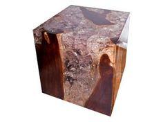 Teak & Cracked Resin Cube