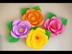 Today I'm gonna show you how to make Hawaiian Style Giant Paper flowers. If you are planning to have a Hawaiian Party, these flowers are an amazing. Giant Paper Flowers, Big Flowers, Diy Paper, Paper Crafts, Diy And Crafts, Crafts For Kids, Paper Pom Poms, Flower Video, Paper Flower Backdrop