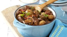 Use red wine, button mushrooms and cubed beef to make this tasty stew ideal for a hearty family feast.