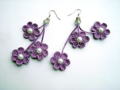 crochet earrings crochet flower earrings crochet by JewelrySpace, $8.00 Crochet Motifs, Fleur Crochet, Crochet Owls, Crochet Art, Love Crochet, Crochet Crafts, Crochet Flowers, Crochet Stitches, Crochet Patterns