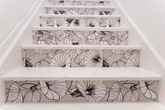 stairs decorated with wallpaper