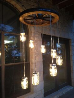Spiral Wagon Wheel Mason Jar Chandelier large by RusticChandeliers
