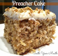 South Your Mouth: Preacher Cake ... Think I'm going to try this with a cup of shredded carrots, apple sauce instead of oil and agave nectar instead of sugar with 1/2 brown rice flour ...