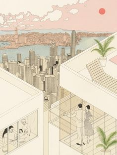 Bristol based illustrator Harriet Lee-Merrion (already present in Socks' archive) works on sophisticated drawings which combine linear figures and volumes with coloured natural presences. She employs mostly the axonometric projection which allows the synchronic representation of interior and...