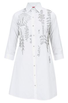 White embroidered long shirt BY HEMANT AND NANDITA. Shop now at: www.perniaspopups... #perniaspopupshop #designer #stunning #fashion #style #beautiful #happyshopping #love #updates