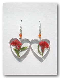 Resin earring. Handmade Jewelry with  Flowers  by Annysworkshop, $18.00