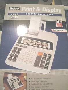 Ibico Print & Display Desktop Calculator Model 1214, MIB, Tax Function Business #Ibico