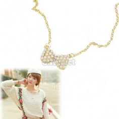 $1.36 Classic Bowknot Long Gold Pearl Necklace Sweater Chain
