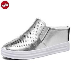 Damen Sommer Flach Dicke Sohle Atmungsaktive Gitter Sneaker Silber Größe 38 EU (*Partner-Link)