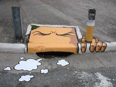 Street Art, smoking sewer