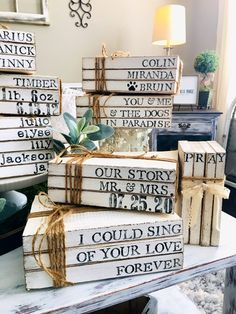 Excited to share this item from my shop: Custom Book Stack / Family Established Gift /Stamped Book Stacks / Farmhouse Books / Personalized Stamped Books / Wedding Wooden Books, Painted Books, Personalized Anniversary Gifts, Personalized Books, Farmhouse Books, Vintage Farmhouse, Farmhouse Signs, Book Wedding Centerpieces, Wedding Decor