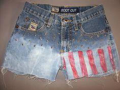 HandPainted Flag Cruel Girl Cutoff Shorts Women's by CrazySexyChic, $19.99