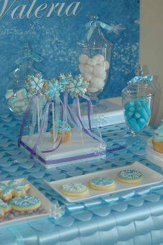 Blue Frozen birthday party! See more party planning ideas at CatchMyParty.com!