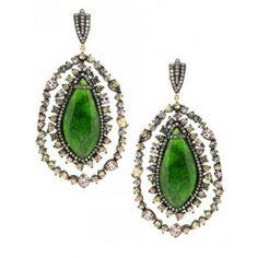 Chrome, Garnet and Diamond Large Drop Earrings