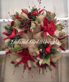Christmas Burlap Wreath  by IslandGirlWreaths on Etsy