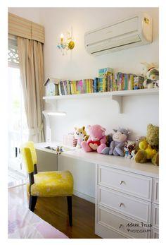 """Board over dresser- diy """"built in"""" desk"""