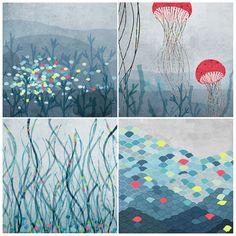 Marin Set of 4 prints van aliette op Etsy Medusa Kunst, Medusa Art, Art And Illustration, Underwater Theme, Jellyfish Art, Arches Paper, Textiles, Art For Art Sake, Baby Prints