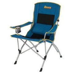 Rokk Comfort Adjust Oversided Folding Camp Chair (Black/Blue), (outdoor  Chair