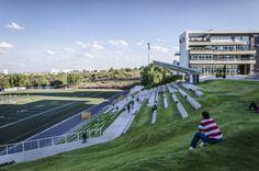 Image 6 of 23 from gallery of Borregos Stadium / Arkylab + Mauricio Ruiz. Photograph by Oscar Hernandez Landscape Architecture, Landscape Design, Architecture Design, Sport Park, Parking Design, Modern Landscaping, Facade, Dolores Park, Paddle