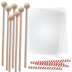 6 Inch Wood Lollipop Sticks with Clear Bags for Packaging Chocolate Molds and Cake Pops Red Candycane Stripe Twist Ties Rock Candy Making Kit 144 Pieces >>> Be sure to check out this awesome product.