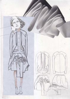 Fashion Sketchbook - fashion design drawings and fabric manipulation - dress design development; fashion portfolio layout // Valeska Collado