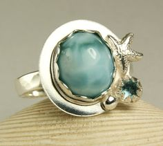 Larimar Ring Sterling Silver Natural Stone by TazziesCustomJewelry