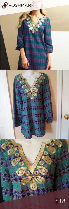 MudPie Tunic Peacock Large 12 14 Mudpie tunic in  peacock with a gold trim. Excellent Condition. Sleeves have and an elastic band to allow for various lengths.  Size large 12-14 Length31 Chest 20 MudPie Tops Tunics
