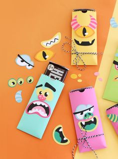 Trick or treat your favorite monster on Halloween with this easy DIY Pocket Punch Board Candy Wrappers | Damask Love