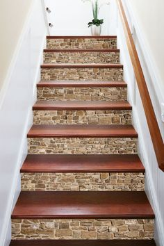 home_decor - Vintage Brick 669 Marble Tile Texture Stair Risers Tiled Staircase, Tile Stairs, Staircase Remodel, House Stairs, Stairs Flooring, Laminate Stairs, Marble Stairs, Floating Staircase, Basement Stairs
