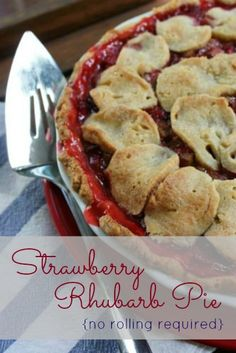 Strawberry Rhubarb Pie (no pie crust rolling required!) from http://FrugalLivingNW.com