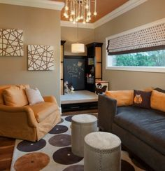 Love the color scheme in this room. So earthy. Love the ceiling color and also...the art is sooooooo easy to do yourself!