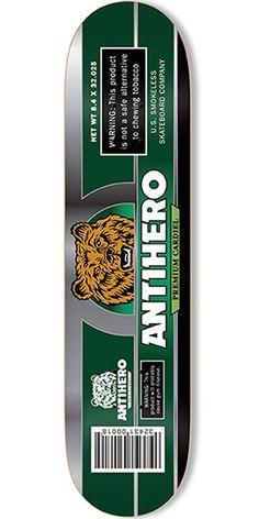 778fe29f00ca Anti-Hero Cardiel Smokeless Skateboard Deck - Green - 8.4in x 32.025in