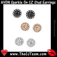 Sparkle On CZ Stud Earrings. Avon. These sparkling stud earrings have a 2 carat center stone surrounded by a halo of clear stones. Available in Clear, Black or Morganlite. Regularly $7.99. FREE shipping with any $40 online Avon purchase. #CJTeam #Avon #Style #Sale #Jewelry #Fashion #C19 #Gift #Earrings #CZ #StudEarrings#Avon4Me Shop Avon jewelry online @ www.TheCJTeam.com